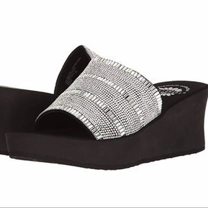 Ossie Bling Clear Sparkling Strap Sandal Wedge